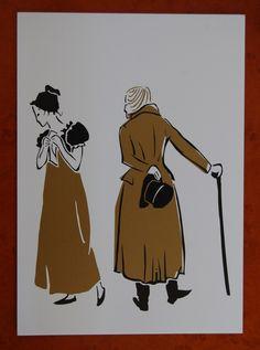 Set vintage post kaarten van illustraties voor het Dicken's Festijn. Om te versturen of in huis neer te zetten of op te hangen, met of zonder lijst(en).