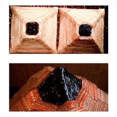 Overhead view of the mini MUR Lifestyle Bamboo Pyramid. Image on the top left and bottom pic is the clay capstone pyramid on the top right is the copper and mica capstone pyramid.Learn more here http://murmeditationpyramids.com #pyramids #pyramidhat #murs #bamboo #art #sculpture #murlifestyle #orgonite #orgone #ethnicart