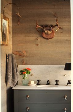 random width pine boards stained to look like old barn boards - for the love of a house: barn half bath