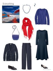 4 piece wardrobe in navy, blue and red