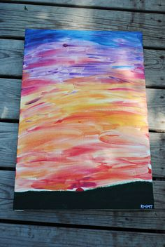 acrylic canvas painting a sunset by coffeedripsart on Etsy, $26.00