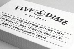 Five & Dime by Bravo Company for a restaurant/café in Singapore. A coin is used as a visual representation of the name. Five & Dime refers to a variety store where everything is sold for 5 or 10 cents. I loive the color palette, the logo, typeface selections... everything is so well designed and makes me want to be there! - business cards