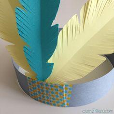 coiffe d indien diy plumes papier