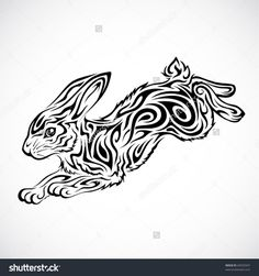 Buy Tribal Rabbit by kuzzie on GraphicRiver. Jumping rabbit tribal tattoo This image is a vector illustration and can be scaled to any size without loss of resolu. Tribal Animal Tattoos, Tattoo Tribal, Tribal Animals, Tribal Tattoo Designs, Tribal Art, Bunny Tattoos, Rabbit Tattoos, Stammestattoo Designs, White Rabbit Tattoo