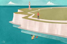"""Another piece for The Observer/The Guardian based on an article titled: """"Walking out my grief one step at a time': why I'm doing a 24-hour walk"""" 'The walk is to remember my mum. I signed up for it last summer, on the same weekend that she died.' Art direction: Joanna Cochrane #conceptual #illustration #kent #dover #lighthouse #walking #remember #conceptual #reflection #sea #coast #nature #theguardian #mom"""