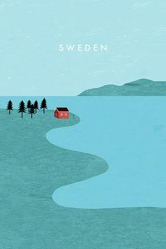 Sweden, Schweden Travel Poster by Katinka Reinke. Deine Lieblingsorte als Poster, Tasche oder Duschvorhang.