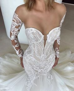 Shop our range of exquisitely handcrafted wedding dresses and find the dress of your dreams for your big day. Discover luxury bridal wear here. Dream Wedding Dresses, Bridal Dresses, Wedding Gowns, Bouquet Wedding, Wedding Nails, Wedding Reception, Lace Wedding, Long Sleeve Gown, Long Sleeve Wedding