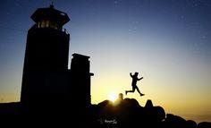 Big jump with sunrise.