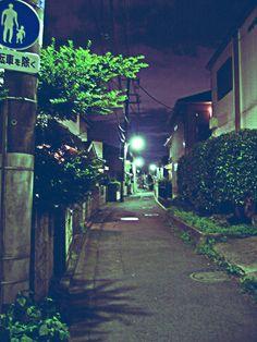 On my way from Saginomiya station at night