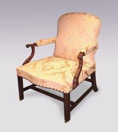 Chippendale Period Mahogany Gainsborough Armchair | Bring Back Brown Furniture | Patrick Sandberg Antiques | http://www.antiquefurniture.net/blog/campaign-strives-to-bring-back-brown-furniture-into-the-modern-home-2337