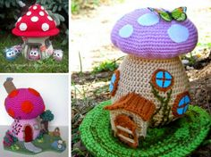You'll love to make these gorgeous Crochet Mushroom Houses and they're all FRee Patterns.