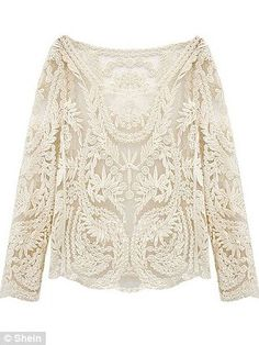 Beige Long Sleeve Hollow Crochet Lace Blouse by SheIn, $15.39; shein.com