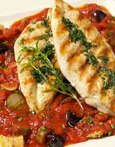 Low FODMAP Recipe and Gluten Free Recipe - Pan-fried chicken with tomato & olive sauce