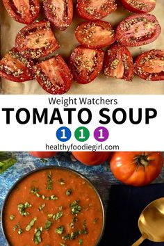 Roasted Tomato Basil Soup, Oven Roasted Tomatoes, Easy Soup Recipes, Ww Recipes, Healthy Recipes, Fruit And Vegetable Wash, Weight Watchers Soup, Recipe Builder, Plum Tomatoes