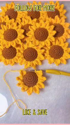 Crochet Flower Squares, Crochet Sunflower, Crochet Daisy, Crochet Mermaid, Crochet Lace Edging, Crochet Fall, Crochet Flowers, Crochet Stitches Free, Crochet Purse Patterns