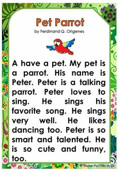 English Stories For Kids, Learning English For Kids, English Worksheets For Kids, English Lessons For Kids, Learn English Words, English Grammar For Kids, Reading Comprehension For Kids, Phonics Reading, Reading Passages