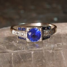 Art Deco Sapphire and Diamond Ring in 18K White Gold ($2,200) ❤ liked on Polyvore featuring jewelry, rings, white gold diamond rings, 18k diamond ring, 18 karat gold ring, diamond rings and art deco rings