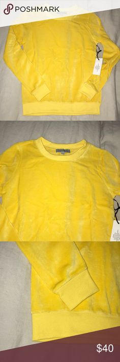 NWat Von Vonni Yellow Velour Sweatshirt Trendy cool sweatshirt made in USA! Von Vonni Tops Sweatshirts & Hoodies