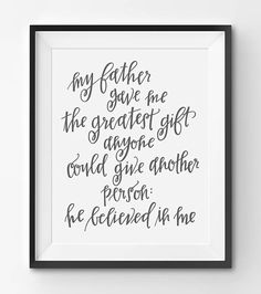 Happy Fathers Day Printable Thank You Father Art Print Handwritten Quote Gift