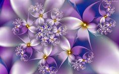 Fioletowo, Białe, Kwiaty, Fraktal