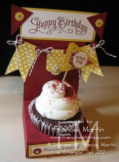 cherry cobbler 9 by 5 score on the long way at 1, 4, 5, 8 and 9 turn around score at 1 and 4 this will be the bottom box  3 by 11 score at 5-1/2 this is the back  2-1/2 circle punch #120906 this is to make the opening to site your cupcake  for the banner I use the Polka Dot Parade DSP #126902  Itty Bitty Punch Pack #