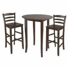 Fiona High Round Table w/ Ladder Back Stool - Winsome Wood set comes with the Round High Table and is a perfect addition to your kitchen or game room. Matching Ladder Back Stool is Seat Height. Constructed from solid wood and finish in High Table Set, High Top Table Kitchen, Pc Table, High Top Tables, Table Bar, Pub Table Sets, Dining Table Chairs, Dining Furniture, Kitchen Dining