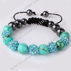 Shamballa Bracelet, 10mm round turq clay rhinestone & turquoise beads, adjustable        Item No.:SN014733      Shop price: US$5.09 - US$5.99