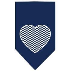Chevron Heart Screen Print Bandana Navy Blue Small