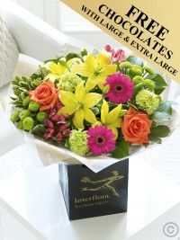 Vibrant Hand-tied Bouquet - Free Chocolates with Large and Extra Large