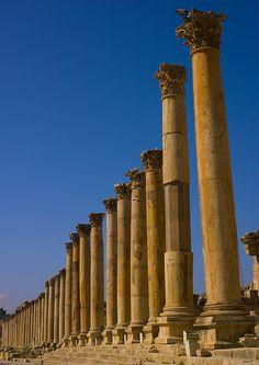 Colonnaded street Roman Ruins at Jerash in Jordan #kitsakis