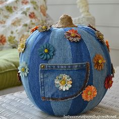 How cute is this denim-covered pumpkin! (Between Naps on the Porch)