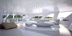 Image 12 of 17 from gallery of Zaha Hadid Designs Superyacht. Photograph by Unique Circle Yachts / Zaha Hadid Architects for Bloom+Voss Shipyards Zaha Hadid Interior, Yacht Interior, Interior Photo, Home Interior, Modern Interior Design, Futuristic Interior, Futuristic Design, Futuristic Architecture, Architecture Design