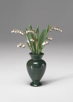 Lilies of the Valley, 1801 - 1947, Fabergé. nephrite, gold, pearls, diamonds, bloodstone,  7.5 x 5.75 x 4 in. (19.05 x 14.61 x 10.16 cm.)