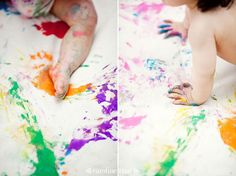 full body finger paint on canvas. Alternative to 'cake smash' - original art after the fact too!