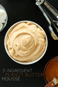 Vegan peanut butter mousse--just 3 ingredients. Can be used as dessert itself, frosting, or fruit dip. Köstliche Desserts, Delicious Desserts, Dessert Recipes, Yummy Food, Peanut Butter Mousse, Vegan Peanut Butter, Almond Butter, Baker Recipes, Vegan Recipes