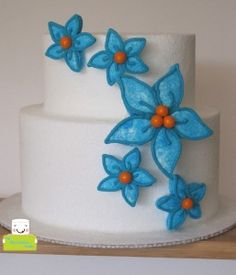 turquoise and orange marshmallow flowers