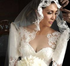 Filipiniana inspired butterfly sleeves wedding dress...