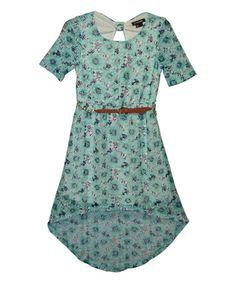 Aqua Geometric Belted Hi-Low Dress - Kids & Tween #zulily #zulilyfinds