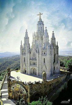 Sacred Heart Church in Tibidabo, Barcelona, Spain.