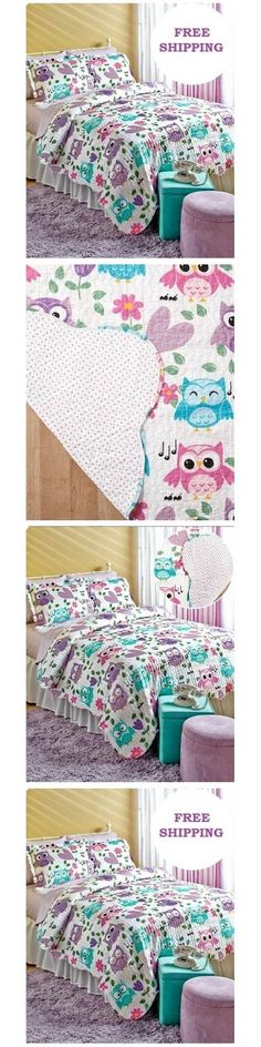 Kids Bedding: Teen Bedding For Girls Full Queen Set Quilt Shams Blue Purple Pink Owls Kids Bed -> BUY IT NOW ONLY: $67.99 on eBay!