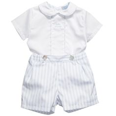 Baby Boys Blue & White Buster Suit - Baby | Childrensalon