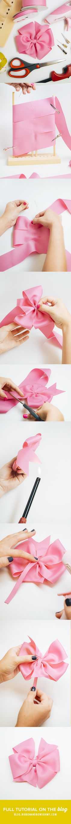 Tutorial para hacer un Pinwheel Bow ¡¡ muy visual¡ Making Hair Bows, Diy Hair Bows, Diy Bow, Diy Ribbon, Ribbon Work, Ribbon Crafts, Ribbon Flower, Ribbon Hair, Baby Band