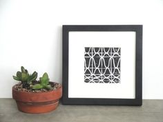 SALE Simple Repeating Pattern Art Block Print 4 x 4 Square Home Decor / Black, Turquoise or Light Blue / Hand Pulled Linocut. $10.00, via Etsy.