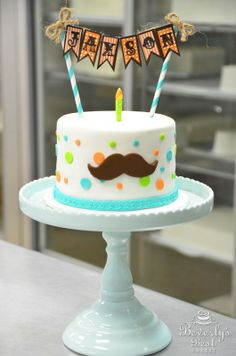 Mustache Birthday cake by Beverly's Best Bakery