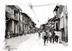 a reproduction of Surabaya's China Town circa 1920 - done by pencil and marker on paper