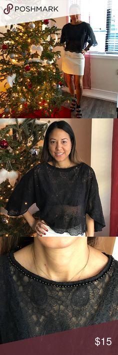 ♠️Crotchet Top♠️ Zara short crochet top   Round Neck   Kimono Sleeves   Pearls details at neckline   100% Nylon   Hand wash   *Mint Condition- Worn once Zara Tops Blouses