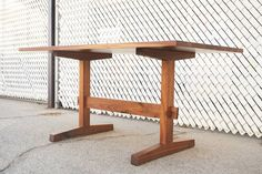 This Black walnut knock-down trestle is a sturdy and versatile table design that dates back to the Middle Ages. In our modern version, two tapered wood pins… Trestle Dining Tables, Diy Dining Table, Dining Table Design, Dining Room, Easy Woodworking Projects, Woodworking Bench, Lumber Storage, Wood Shop Projects, Japanese Woodworking
