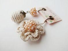 Irish Crochet Lace Jewelry flower & pearl ♥ by DorisChiStudio