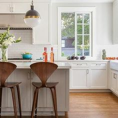 THE WINDOW White Kitchen with Gray Center Island, Transitional, Kitchen