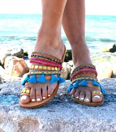 DESIREE sandals/ Boho Hippie Sandals/ Handmade Greek Women Leather Sandals/Colourful Sandals/ Boho Flats/ Ethnic Sandals/Boho chic by magosisters on Etsy https://www.etsy.com/listing/493645985/desiree-sandals-boho-hippie-sandals